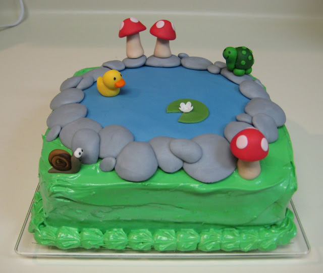 Pond Cake with Animals and Mushrooms 1