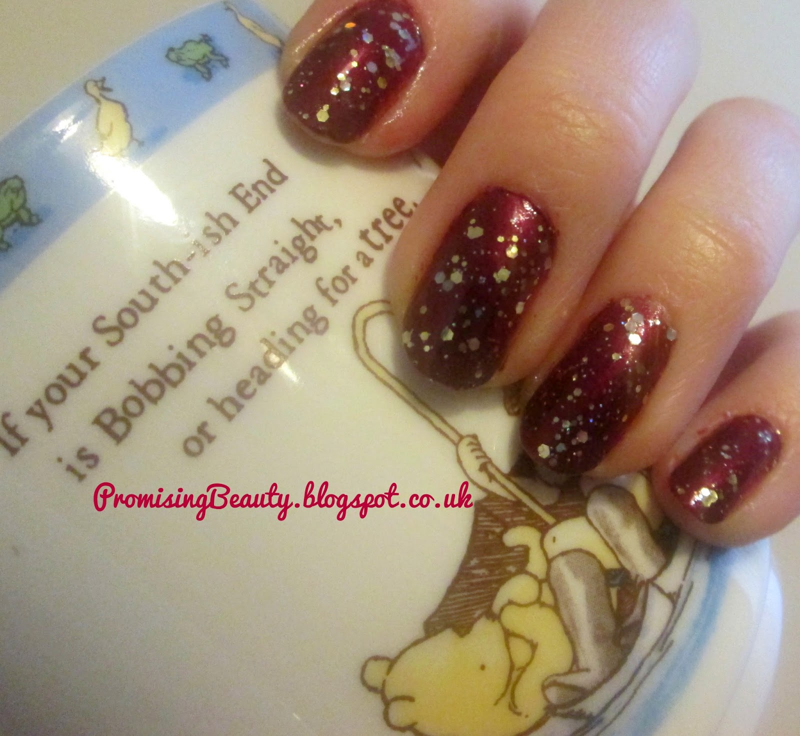 Autumn nail polish, burgundy oxblood nails with gold glitter, Barry M and Winne the Pooh mug