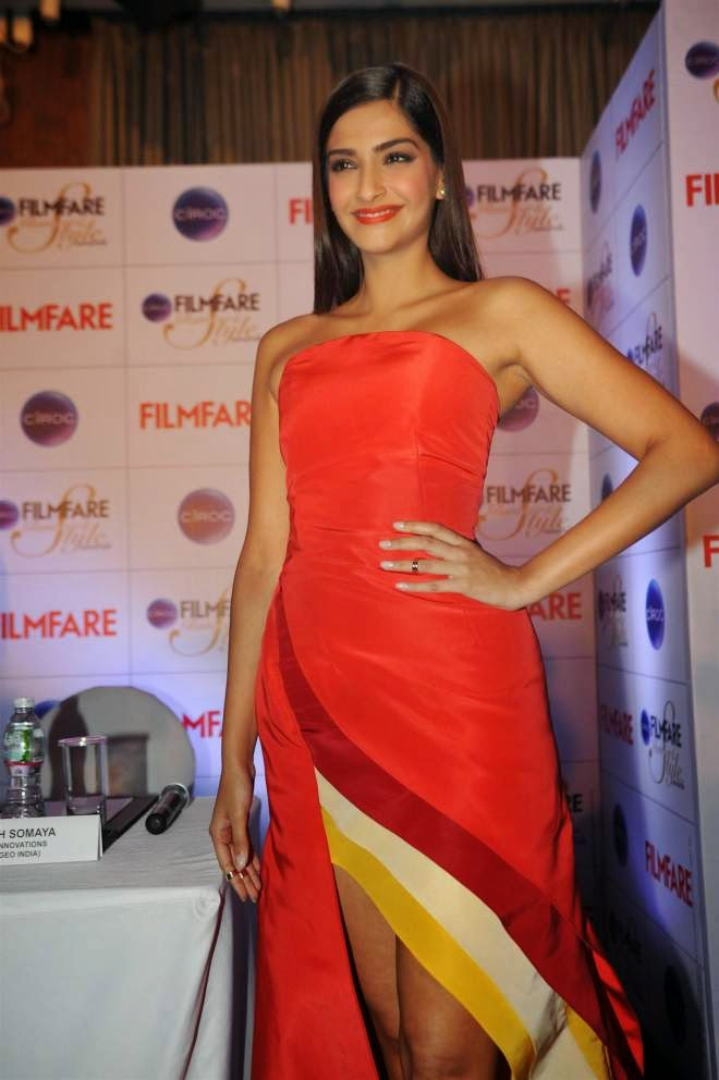 Sonam Kapoor Off Shoulder Red Dress Images