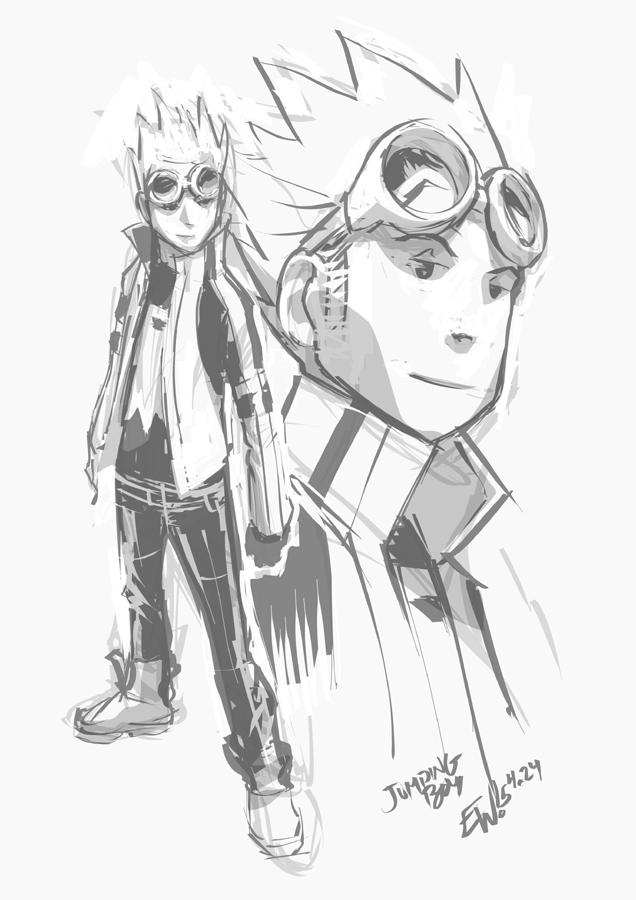 Jumping Boy Concept Warmup Sketch Eryckwebbgraphics