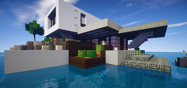 Retreat casa moderna skybuild constru es de minecraft for Casa post moderna