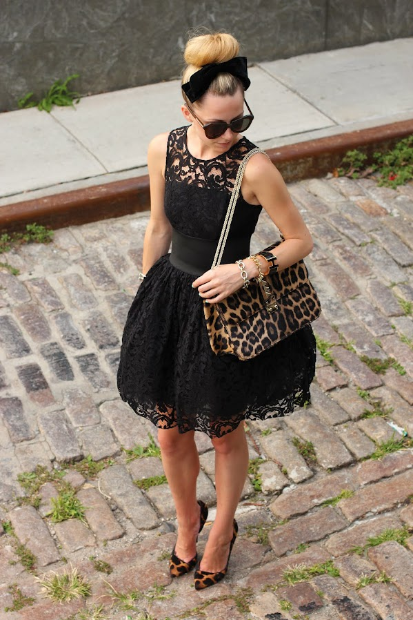 atlantic pacific black lace dress leopard asos bun bow