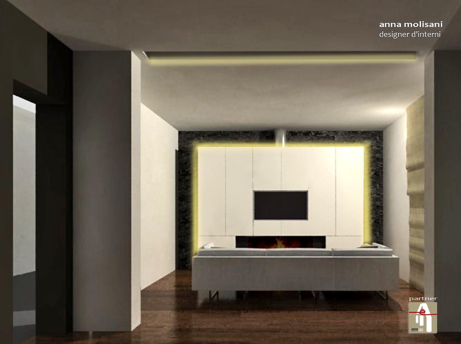 PROGETTO d'ARREDO_ SOGGIORNO con camino e angolo accoglienza _  Anna Molisani _ interior designer