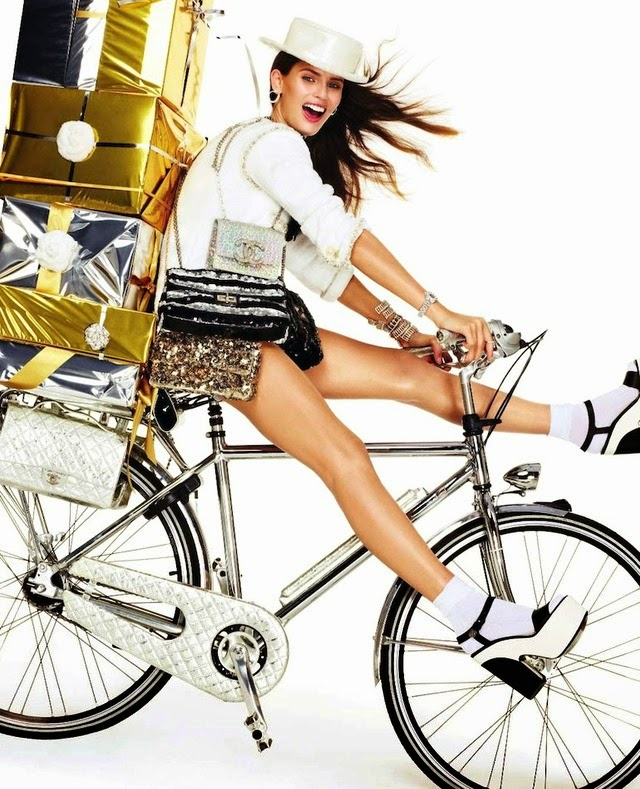Vogue Paris Chanel Christmas presents cycling editorial