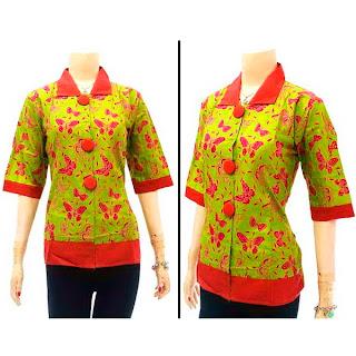 DBT2567 - Baju Bluse Batik Wanita Terbaru 2013