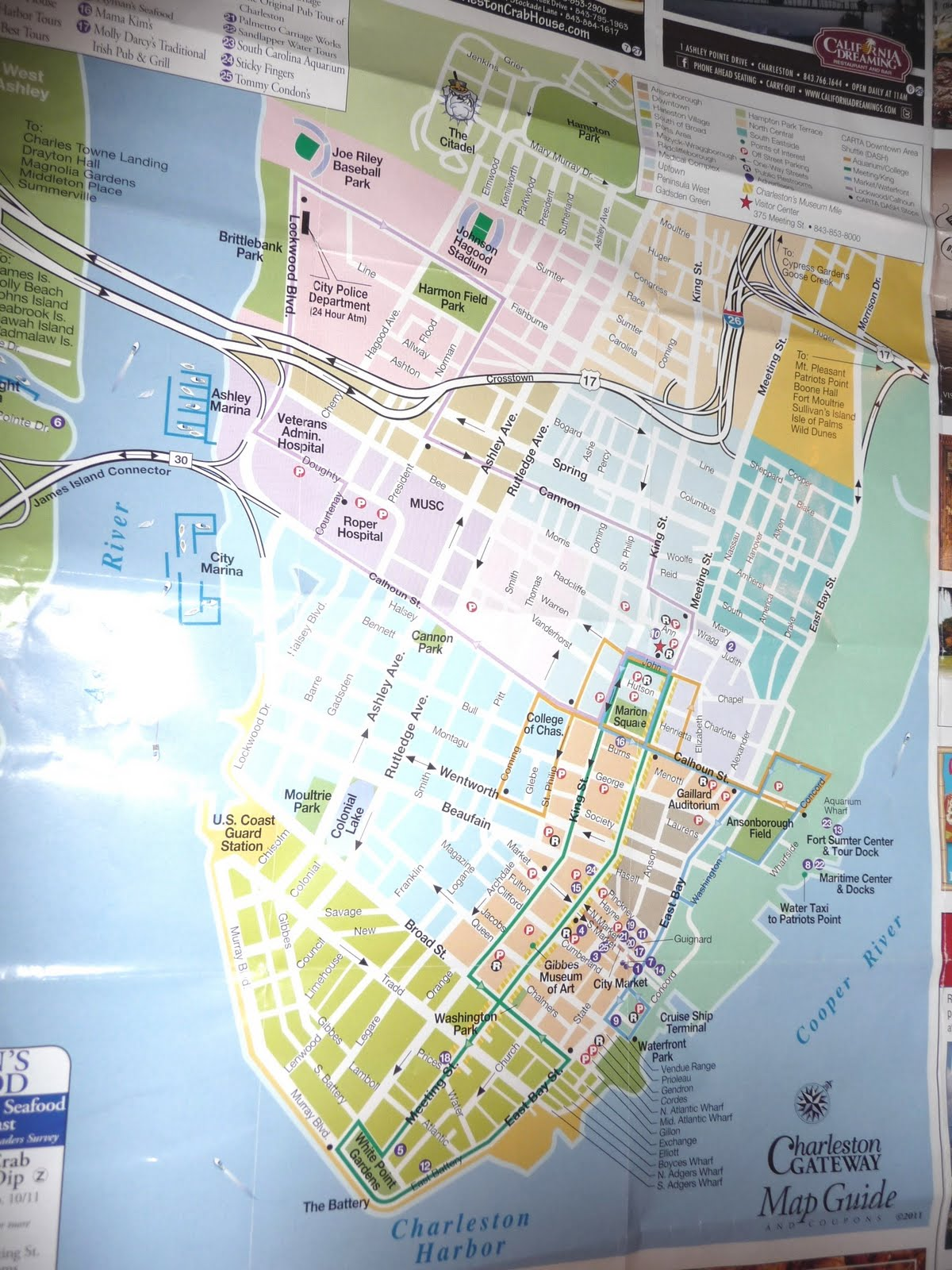 seniors walking across america POST 476 DAY 270 13 – Charleston Tourist Map