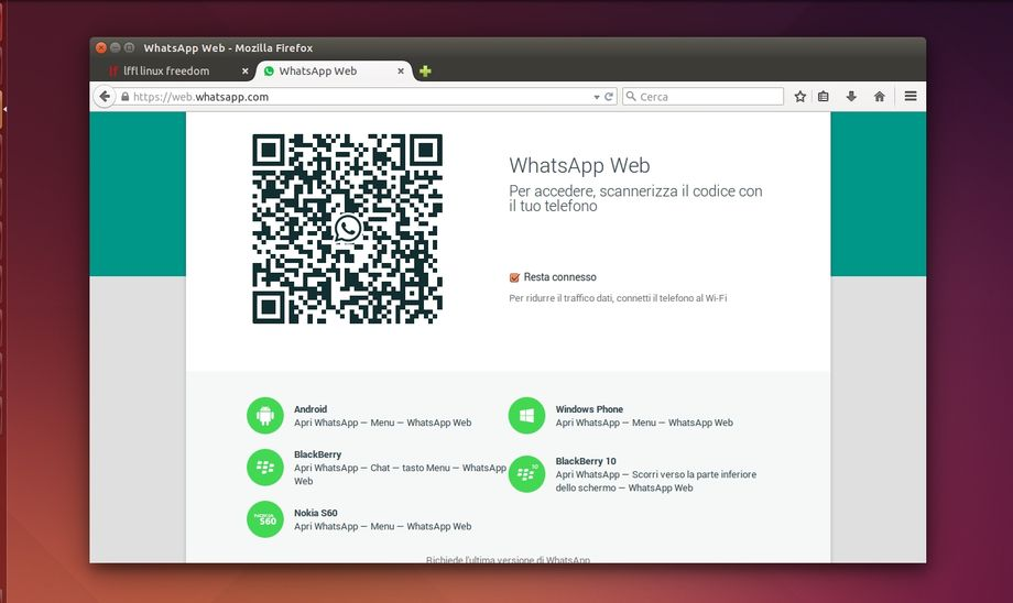 WhatsApp Web in Mozilla Firefox
