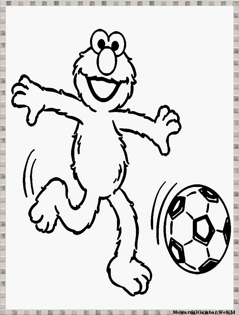 Gambar Elmo Mewarnai Berlatih Karate Bermain Sepakbola