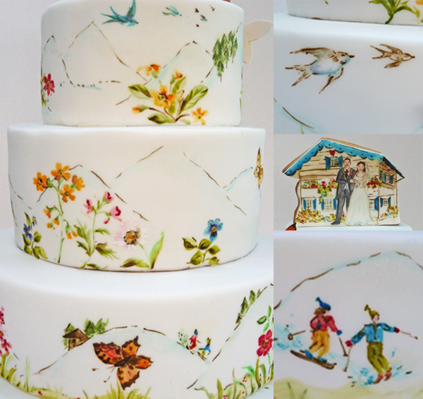 A Very Personal Painted Wedding Cake