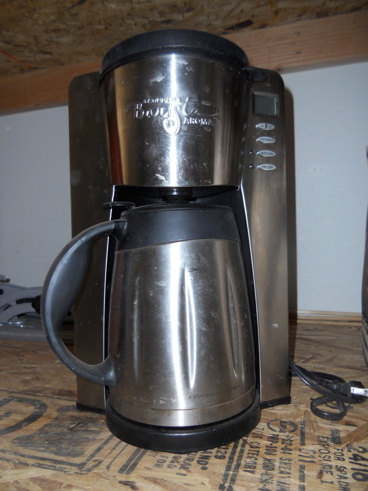 Online yard sale: Starbucks stainless steel programmable coffee pot with stainless steel filter USD 40