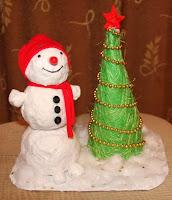 поделка для детского сада снеговик и елочка