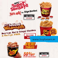 KFC 20% off on Rs. 400, Fiery Grilled Bucket 50% off, Hot & Crispy Chicken Buy 6 Get 6