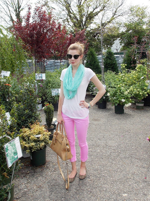 mint green and pink outfit