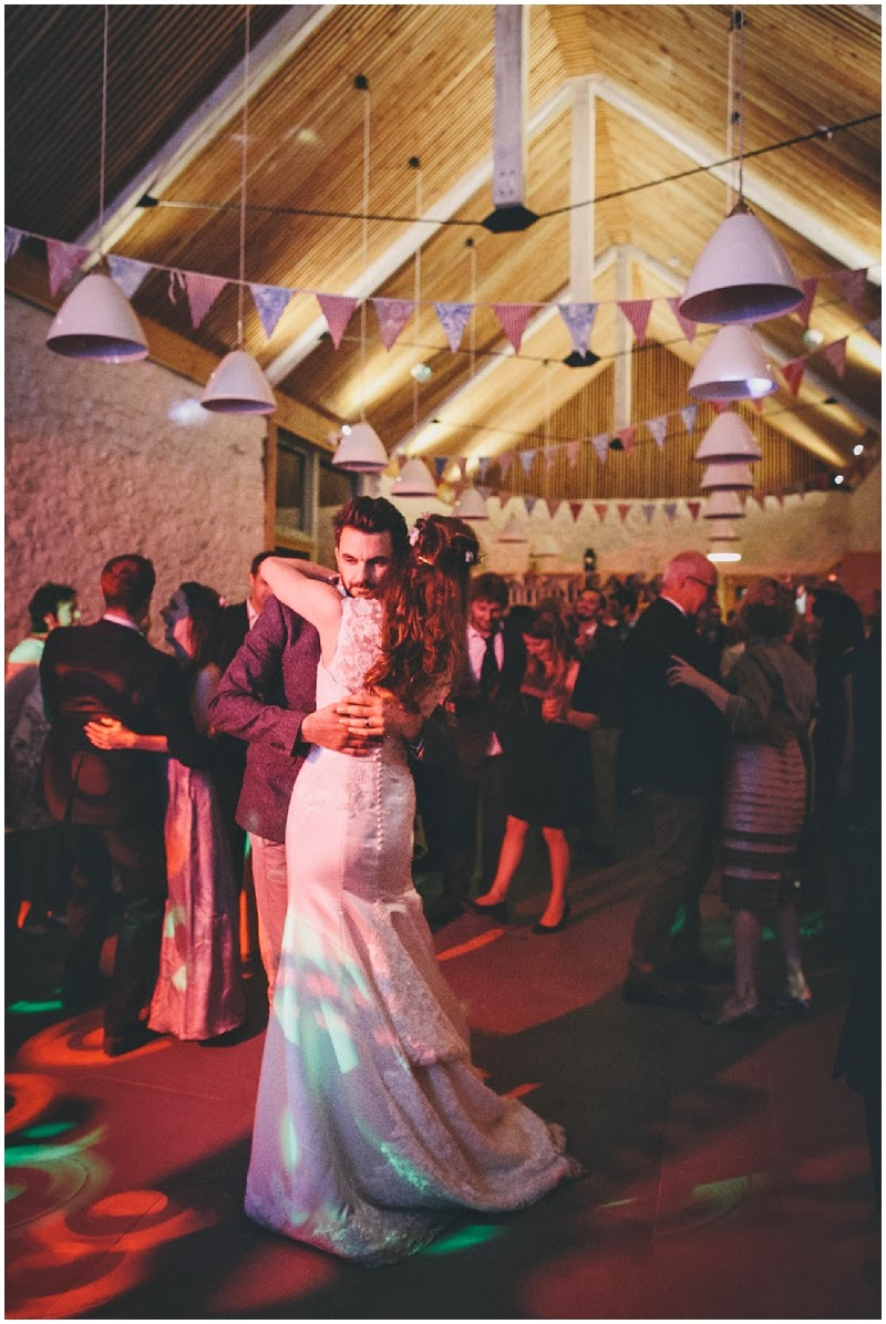 Bride and groom first dance at farm wedding
