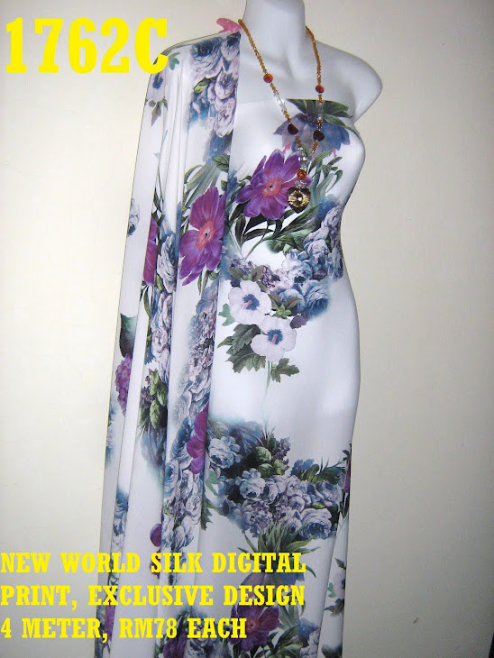 NWS 1762C: NEW WORLD SILK DIGITAL PRINTED, EXCLUSIVE DESIGN, 4 METER