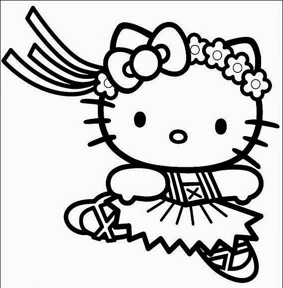 Hello Kitty At The Beach Coloring Pages