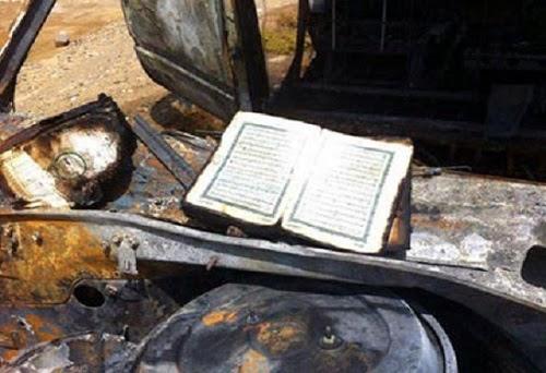 Mushaf Qur'an tetap utuh setelah mobil terbakar hangus (OnIslam.net)