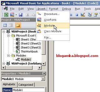 Kemudian copy-kan syntax VBA berikut ini ke dalam Module tersebut: