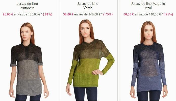 Tres modelos de jerséis de lino con un PVP desde 25 euros.