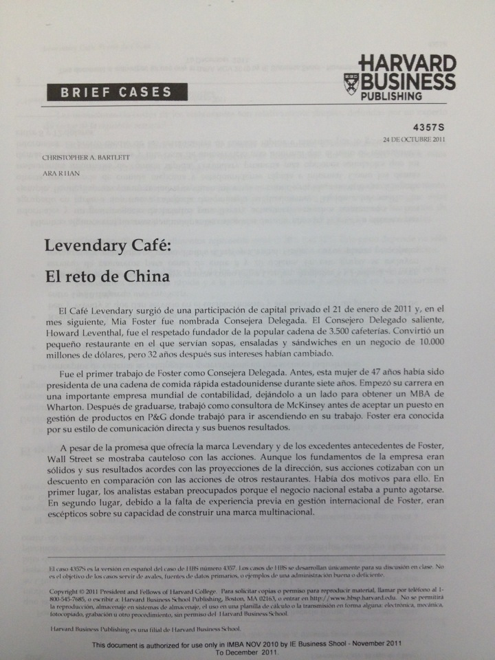 levendary café the china challenge Teaching note for 4357 harvard business school harvard business review.