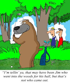 golf funny cartoon lost ball in the woods