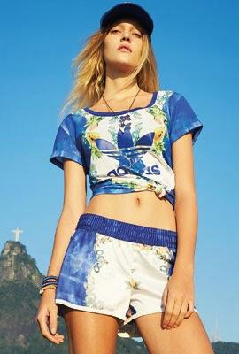 Farm Adidas Originals coleção outono inverno short blusa estampa índigo