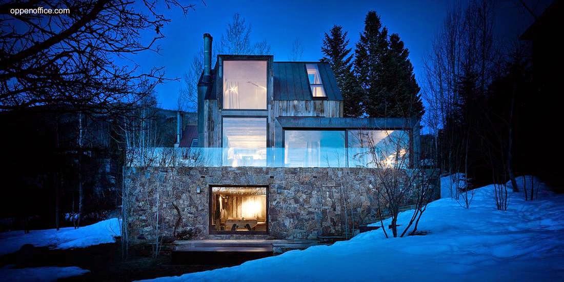 la muna casa de piedra y madera en la montaa