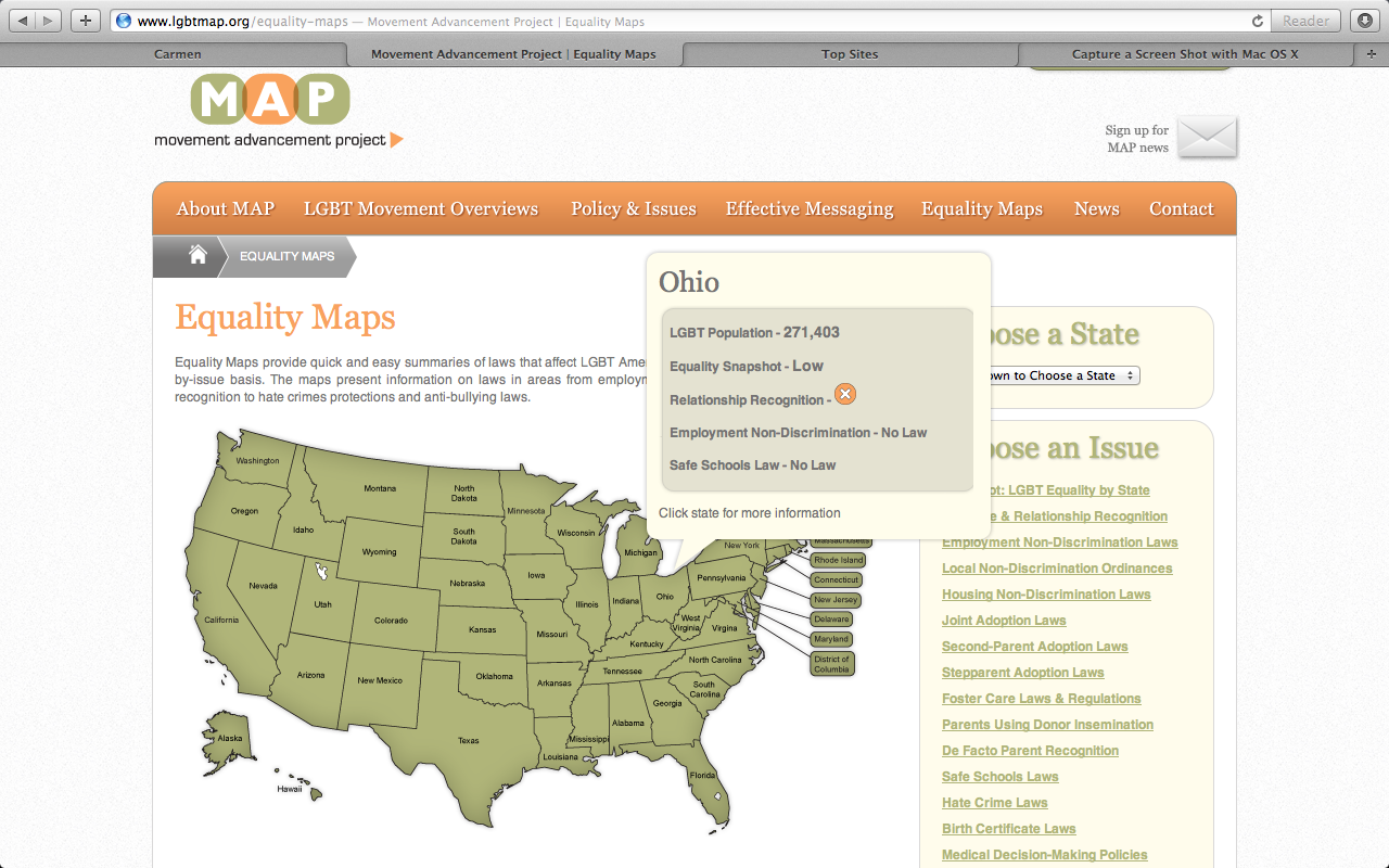 below is an equality map provided on the groups website this map provides information on law that affect lgtbq americans by going to the website you