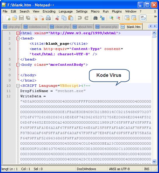 Gambar script Cara Mengatasi dan Membersihkan Virus Sality yang Menginveksi File htm/html