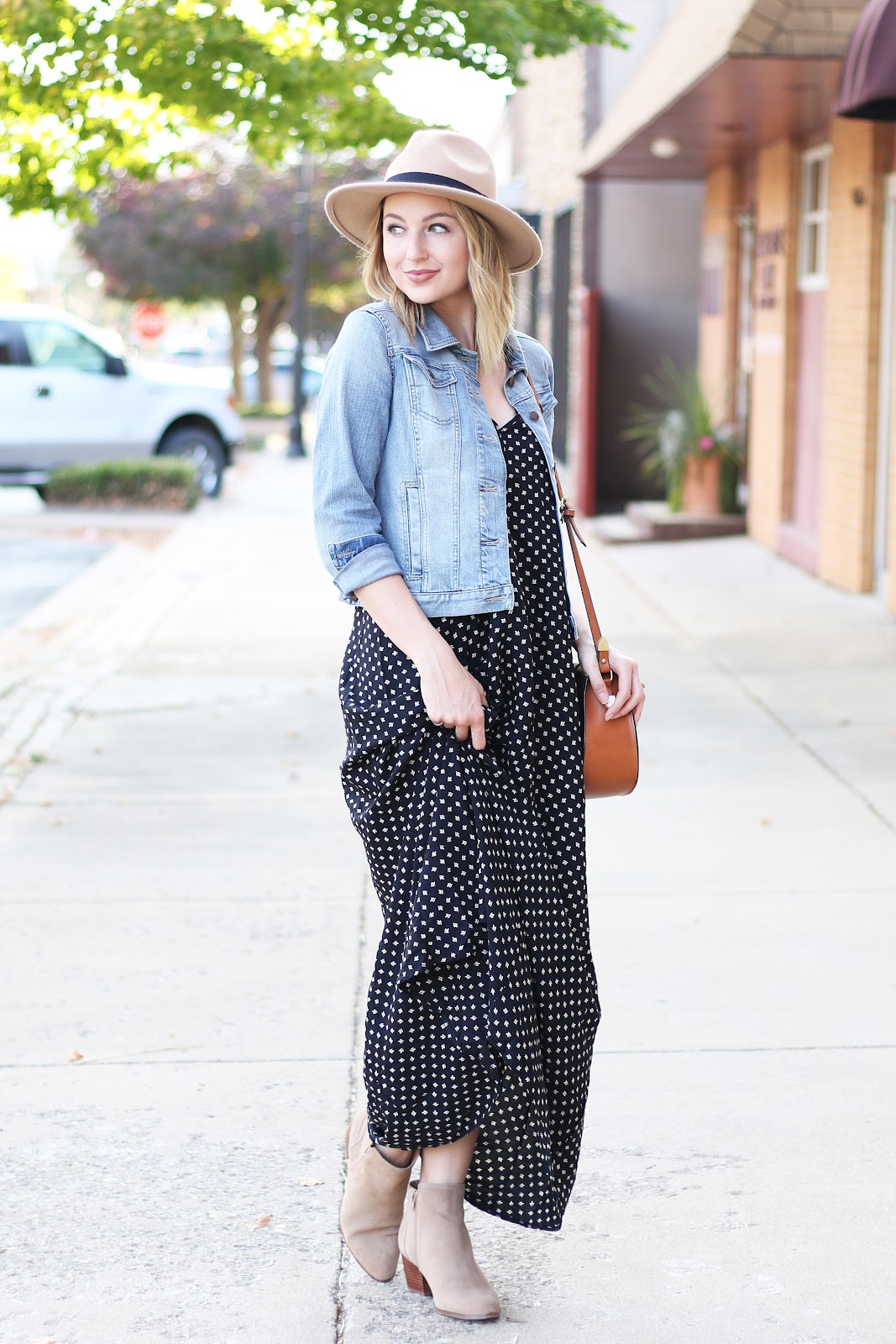 Maxi dress with jean jacket