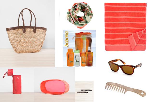 Kit playa o piscina (bolso rafia, pareo, bronceador, toalla, gafas de sol, bolsa térmica, neceser, horquillas, peine)