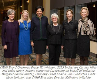 CWHF Board Chairman Diane W. Whitney, 2015 Inductees Carolyn Miles and Indra Nooyi, Jeanne Martowski (accepting on behalf of Inductee Margaret Bourke-White), Honorary Event Chair & 2013 Inductee Linda Koch Lorimer, and CWHF Executive Director Katherine Wiltshire