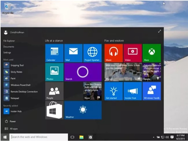 schermata start windows 10