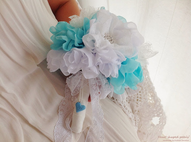 Bridal bouquet with heart and initials