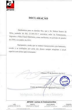 DECLARAÇÃO DE PRESTAÇÃO DE SERVIÇO COMO INSTRUTOR DE FATURAMENTO
