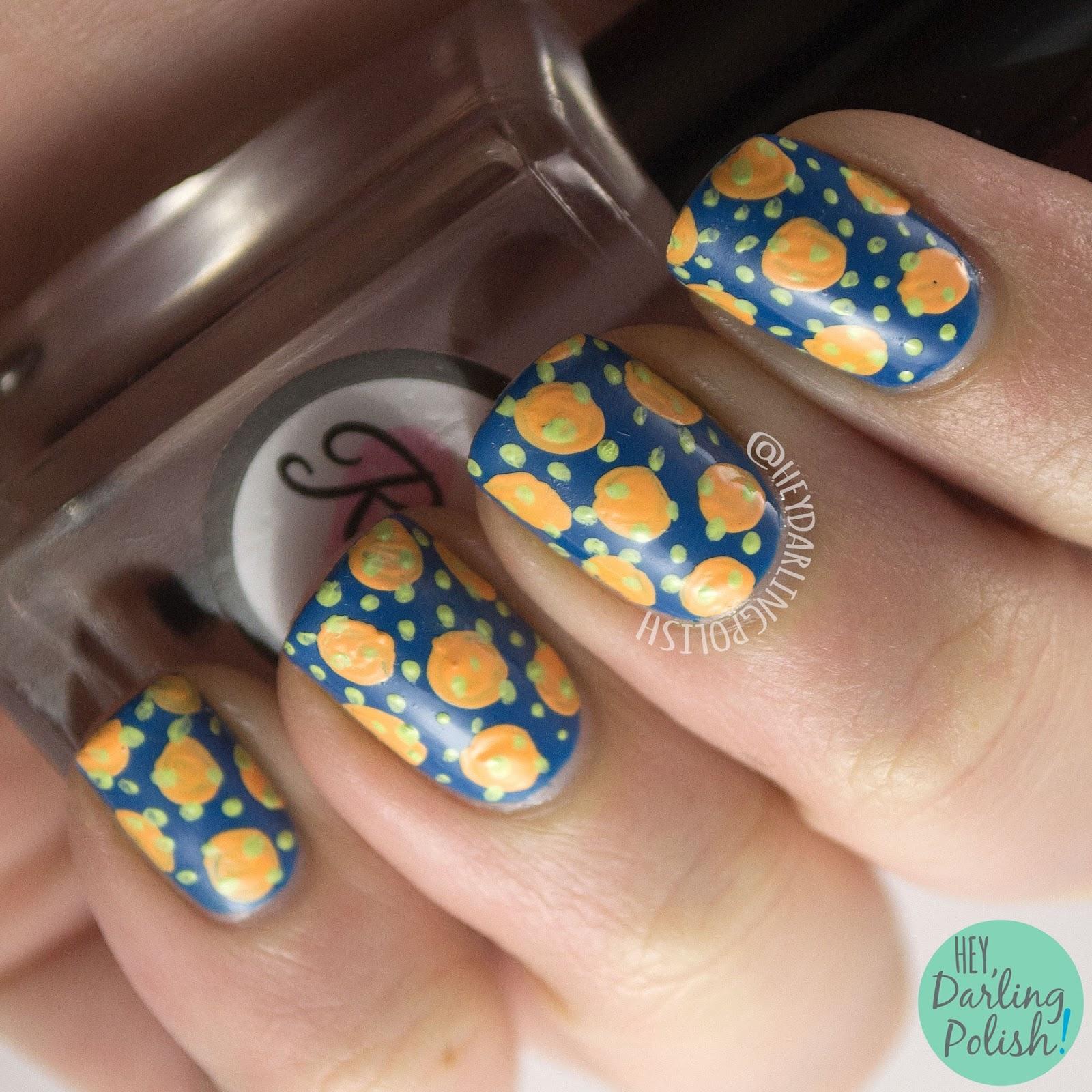 nails, nail art, nail polish, polka dots, hey darling polish, blue, contrast, complement, 2015 cnt 31 day challenge