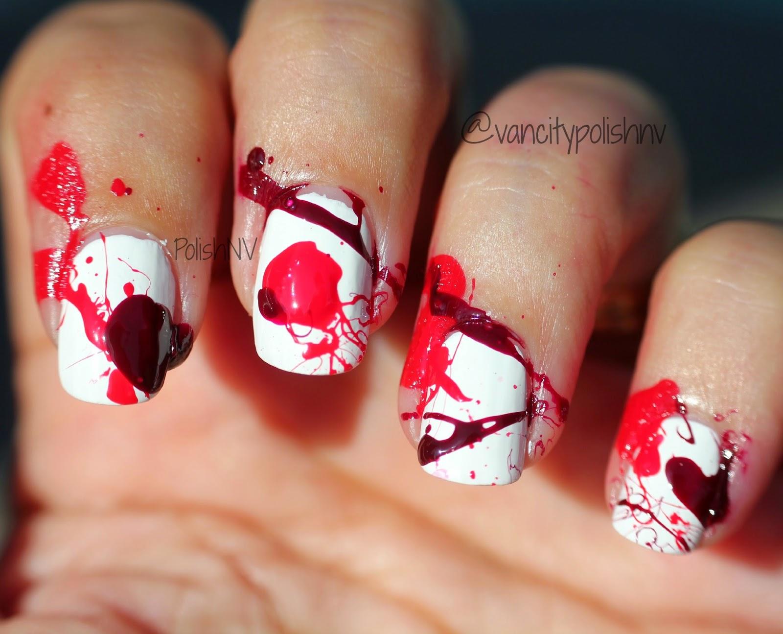 Dexter Inspired Blood Spatter Manicure