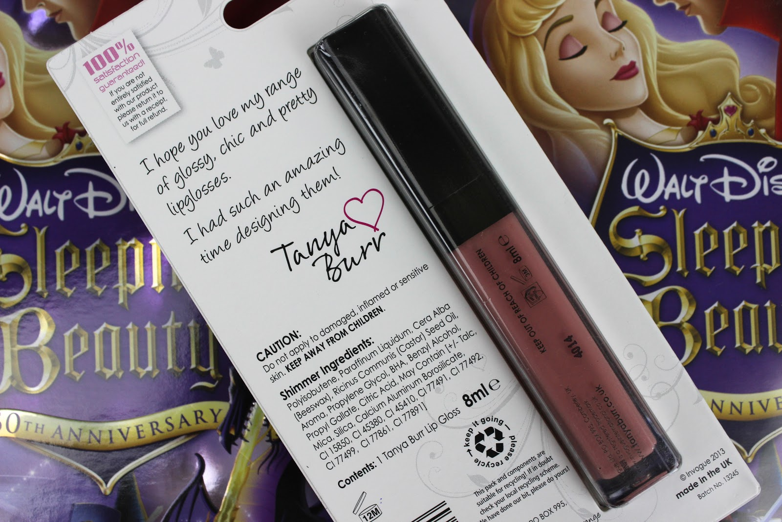 Packaging of Tanya Burr Lips and Nails Lipgloss
