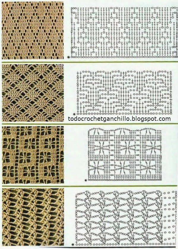 25 Puntos crochet con esquemas para descargar Patrones para Crochet