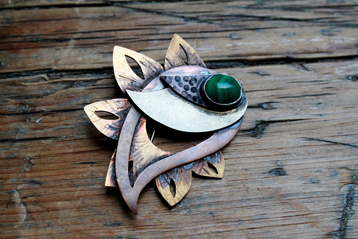 paisley brooch malachite copper nugold nickle art
