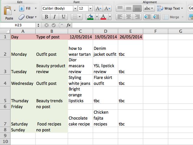 blog content schedule