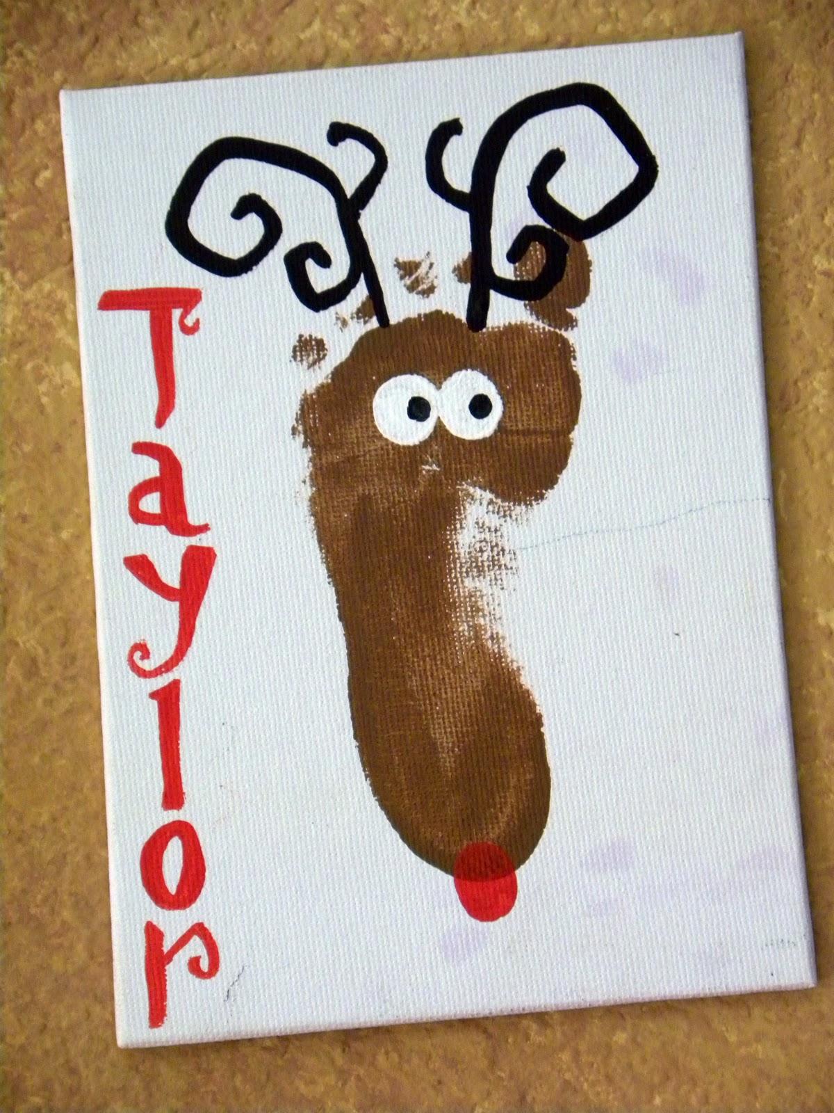 Sassy scarlett footprint reindeer for Reindeer christmas card craft