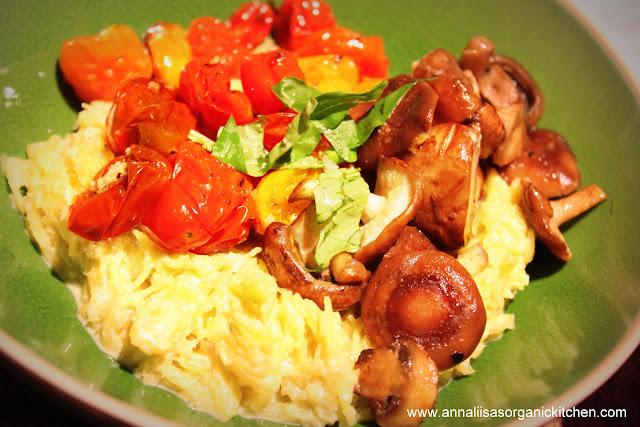 ... Squash with Creamy Raw Alfredo Sauce and Roasted Shiitake Mushrooms