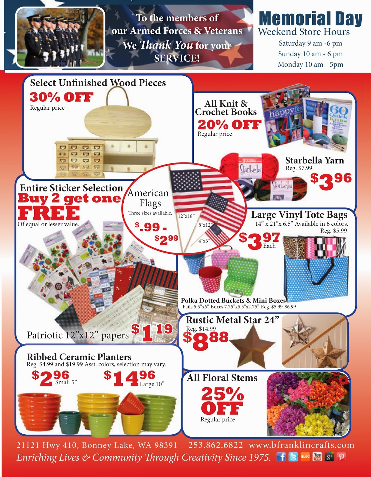 Ben franklin crafts and frame shop memorial day sale at for Ben franklin craft store coupons