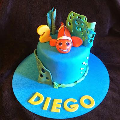 tarta nemo; tarta fondant; tarta decorada; tarta marina; tarta bajo el mar; tarta mar, tarta peli;