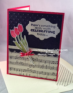 Birthday card with sheet music and flowers
