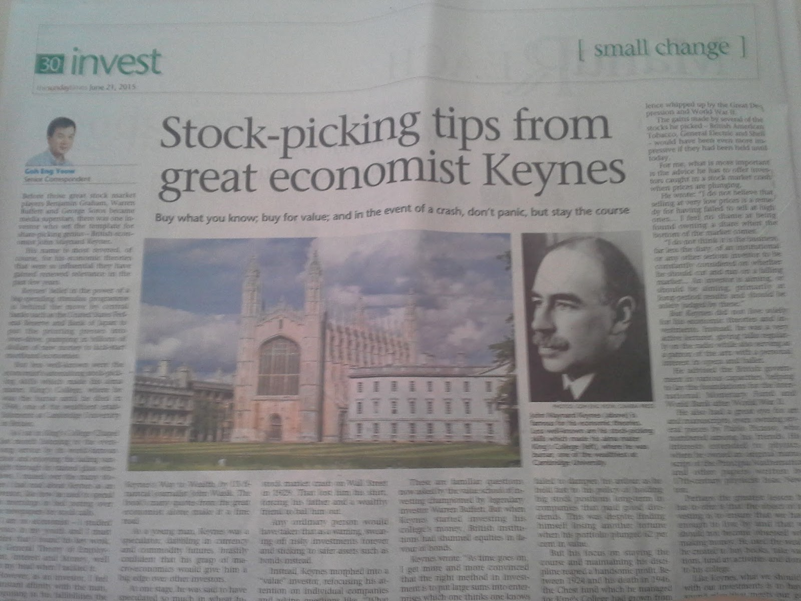 keynes's analysis of the stock market Way to wealth: timeless investment lessons from the great  to wealth timeless investment lessons from the  keynes's activities in the stock market.