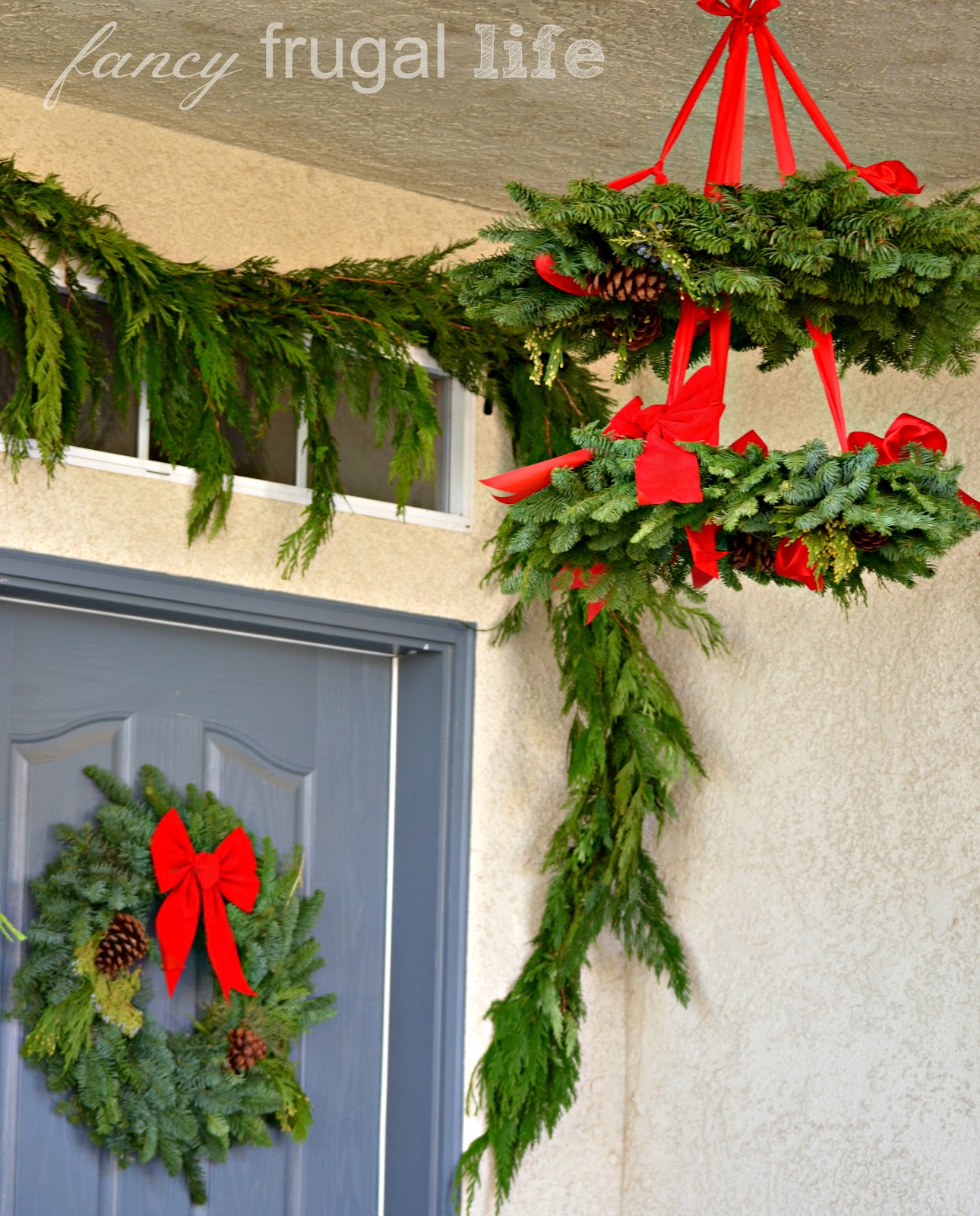 Stacked poinsettia tree shelf christmas wreath chandelier How to hang garland on a christmas tree