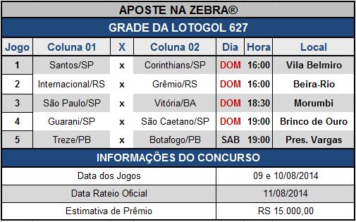 LOTOGOL 627 - GRADE COMPLETA