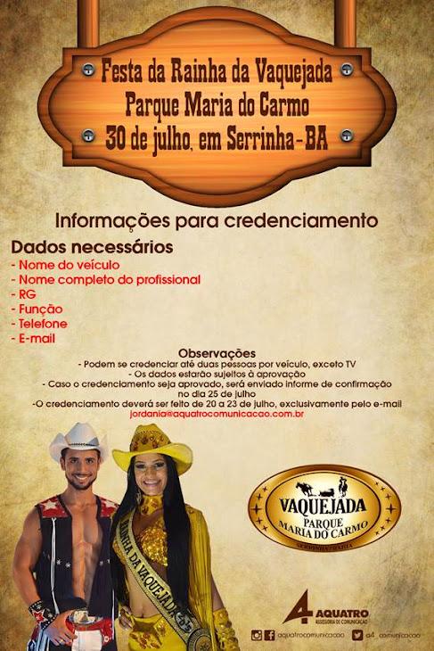 Aberto credenciamento para Festa da Rainha da Vaquejada em Serrinha
